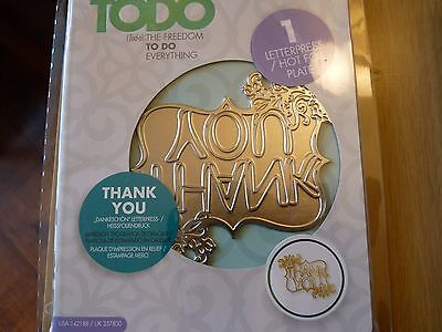 Todo Thank You Letterpress/Hot foil plate, New.