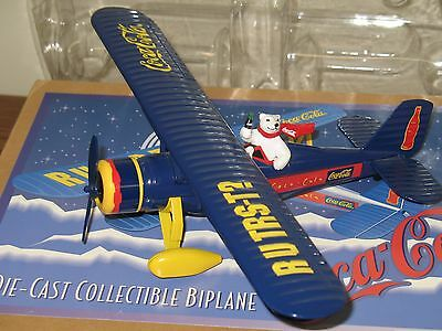 1997 Coca-Cola Die Cast Bi-Plane Airplane New in Box Coke Bottle Can Vintage