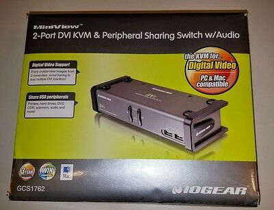 IOGEAR 2-Port DVI KVMP Switch with Audio and Cables (GCS1762)
