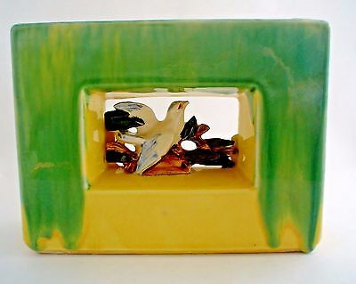 Vintage McCoy Pottery Bird in Square Art Pottery Green and Yellow Planter Vase
