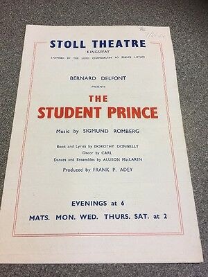 Stoll Theatre Programme The Student Prince