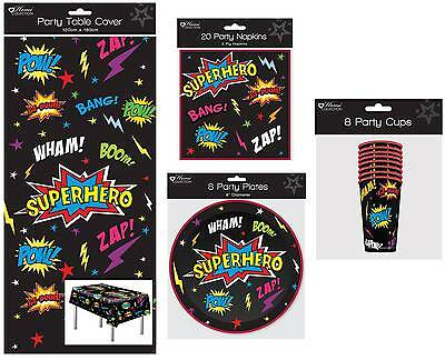 Superhero Party Tableware Pack for 8 People Table cover, Napkins, Plates & Cups