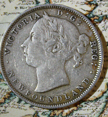 1899 NEWFOUNDLAND CANADA SILVER 20 CENT COIN - lot NF1766
