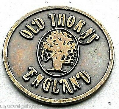 BALL MARKER  GOLF DESIGN PAINTED COIN OLD THORNS GC HAMPSHIRE  ENGLAND 16yrs old