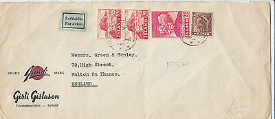D 288 Iceland 1952 Air Mail Cover to UK. CDS Vestmannaeyjum