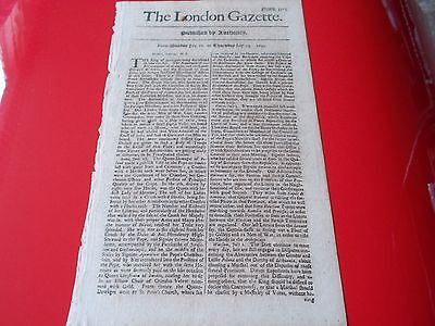 Very Rare ORIGINAL Authentic THE LONDON GAZETTE  1699  no.3513  316 years old.