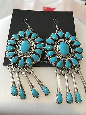 Vintage Sterling signed SLEEPING BEAUTY TURQUOISE NAVAJO SQUASH BLOSSOM Earrings