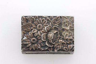 Kirk Stieff Sterling Silver Repousse Floral Match Box Cover