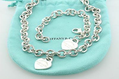 Tiffany & Co. Sterling Silver Return To Tiffany Heart Bracelet and Necklace Set