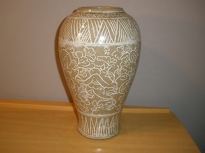 Asian Porcelain  Vase/lamp/planter Decorated With Flowers. 12 Inches High.