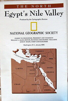 Egypt's Nile Valley -- National Geographic Map / Poster Jan  1995