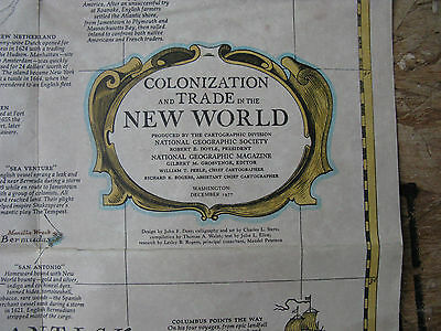 Colonization & Trade New World  National Geographic Map / Poster Dec 1977