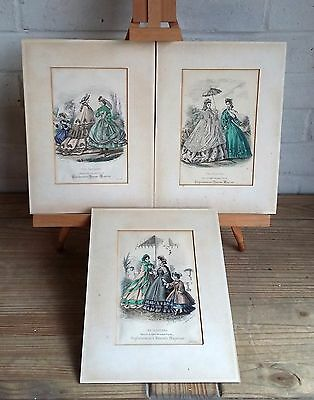 TRIO OF VINTAGE FRENCH 19th CENTURY FASHION HAND COLOURED LITHO PRINTS, GOUBOUD
