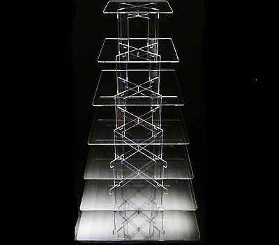 7 Tier Square Acrylic Cupcake Party Wedding Cake Stand
