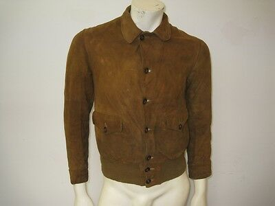 Vintage 1920s 1930s Suede Leather A-1 Aviator Motorcycle Jacket Size SMALL