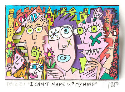 "Original James Rizzi 3 D Bild ""I can`t make up my mind"" NEU mit Zertifikat"