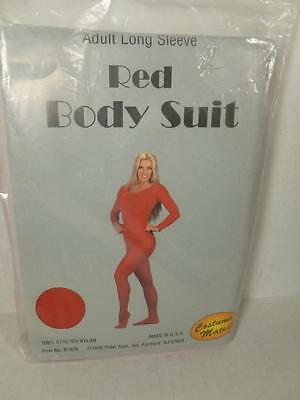NEW Women's Bodysuit Leotard with Long Sleeves Size Extra Large Red USA WS03XL