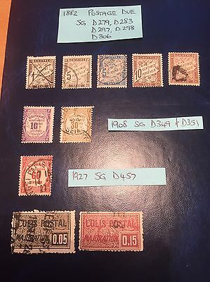Selection Of Old Postage Due Stamps From France 1882 - 1927.