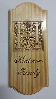 Personalized Engraved Family Last Name Wood Sign Plaque Anniversary Wedding Gift
