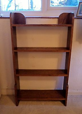 Small solid oak vintage bookcase, 4 shelves, open front/back. Free standing
