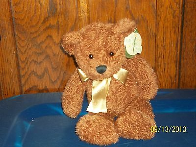 First & Main Brown Teddy Bear Benjamin With Gold Bow Plush