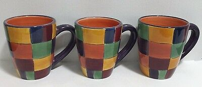 Tabletops Gallery Caracas Coffee Mugs Lot of 3 Hand painted Multi-Colored RARE