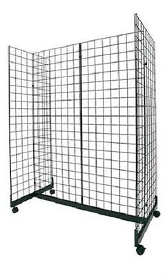 "Wire Grid Gondola Black 48"" L x 66"" H x 24"" W Display Rack Casters Rolling 3"" OC"