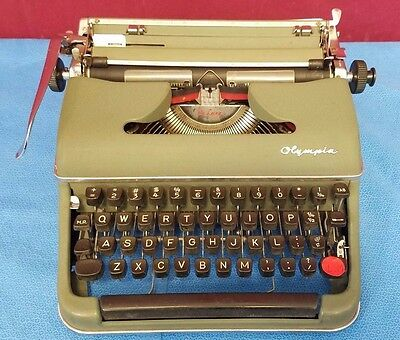 Vintage Antique #3 Green Olympia Typewriter 1950's Made in Germany