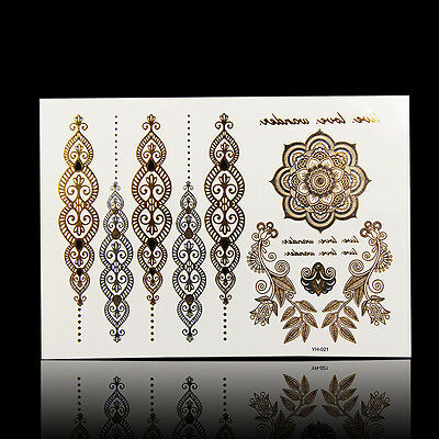 Silver Metallic Temporary Flash Tattoo Body Henna Transfer Sticker Gold Sticker