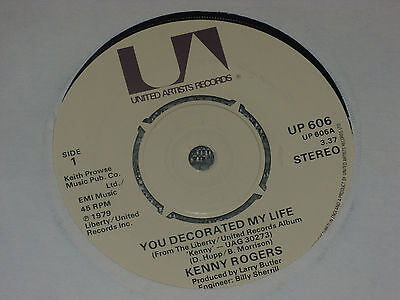 "Kenny Rogers:  You decorated my life     7""  MINT UNPLAYED VINYL"