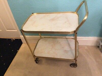 Vintage 2 Tier Tea Drinks Hostesses Trolley Marble / Onyx Effect Design On Trays