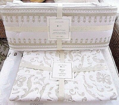 Pottery Barn Kids Nursery Adrienne Gold Embroidered Crib Bumper & Quilt, New
