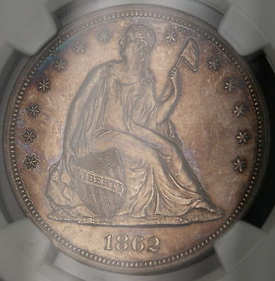1862 Seated Liberty Silver Dollar $1 Coin NGC UNC Details BU