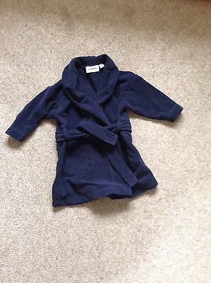 boys navy blue fleece dressing gown white company age 9 months-2 yrs