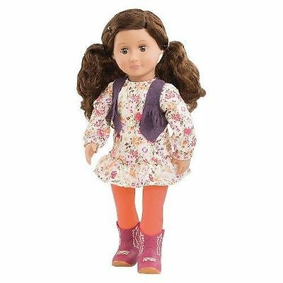 """NEW Our Generation Jackie 18"""" Doll Brown Hair & Eyes Outfit Fits American Girl"""