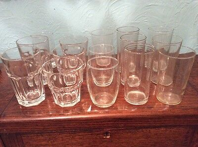 Missmatch Of Vintage Drinking Glasses Tumblers X 15 Weddings Parts Events Retro