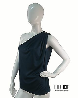 7 For All Mankind Dark Teal One Shoulder Polyester Women's Crystal Top SZ XS