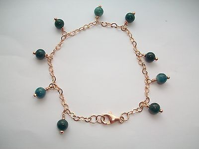 Rose Gold Plated on 925 Sterling Silver, Apatite Gemstone Charm Bracelet