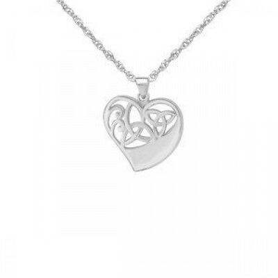 CELTIC STERLING SILVER HEART KNOTWORK PENDANT. Free Shipping
