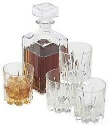 Excalibur Whiskey 5 Piece Decanter Gift Set - Made In Italy. Brand New