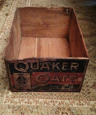 QUAKER OATS The American Cereal Co. Wooden Crate Box No Lid  ANTIQUE Advertising