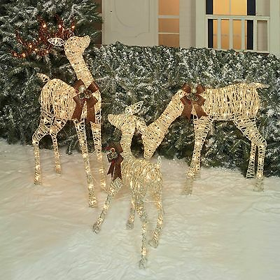 Outdoor Lighted/Pre-Lit 3-Pc Deer Family Display Scene Christmas Yard Art Decor
