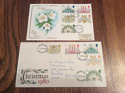 GB 1980 Christmas, Pair of Attractive Official First Day Covers