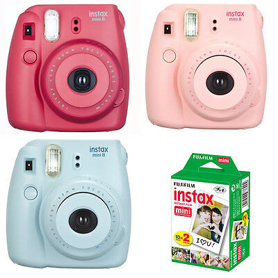 Fujifilm Fuji instax mini 8 Instant Film Camera + 20 Prints, Blue Red Pink