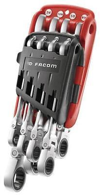 """Facom 5/16"""" to 3/4"""" 8pc Imperial Flexible Hinged Head Ratchet Spanner Wrench Set"""