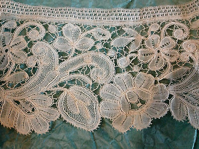 "1 1/2 Yds Handmade Duchesse Bobbin Lace C19-20 3"" deep bridal wedding New Old"