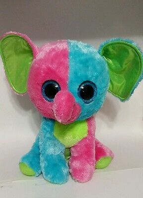 """TY Elfie The Elephant Beanie Boos Justice Exclusive 2015  Jumbo 17"""" Colorful Big"""