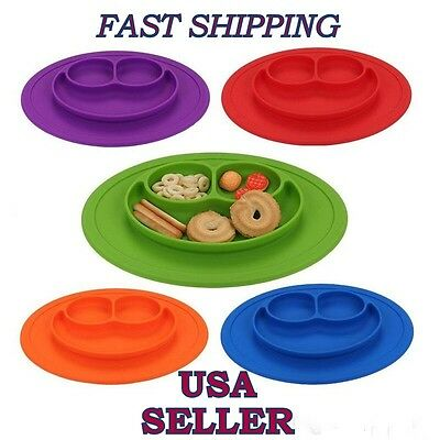 Happy Mat One-Piece Silicone Child Kids Safe Baby Food Divided Bowl Placemat