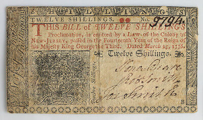 New Jersey 12 Twelve Shillings March 25, 1776 Colonial Currency