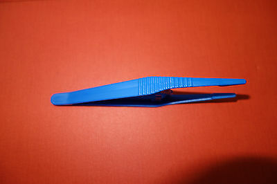 "Blue plastic tweezers 5"" 2x multipurpose"